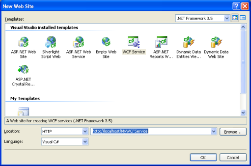 The Visual Studio 2008 web-based WCF Service project template