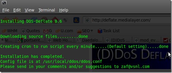 Linux-Administration-Pro-DDOS-Deflate-Install-Command-Output